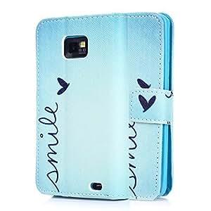 tinxi® Kunstleder Tasche für Samsung Galaxy S2 i9100 Schutzhülle Flipcase Case Cover Schale Etui Skin Standfunktion mit Karten Slot smile in blau