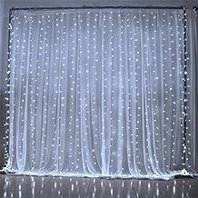Luces de Cortina, SOLMORE 300 LED Bombillas 3Mx3M Cortina luminosa de lámpara Cadena de Luces para la decoración fiesta Boda Navidad Ceremonia Hotel Jardín blanco