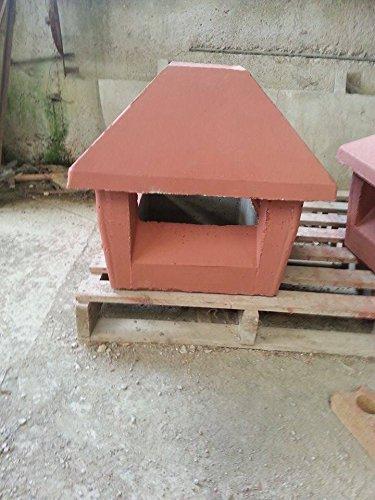 MASTRO GABRIELE Cappello Fumaiolo Comignolo Con Base Quadrata 40x40 rosso in cemento