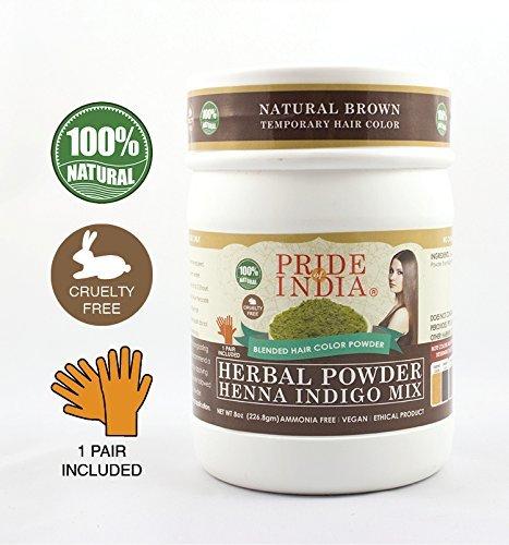 Pride Of India Kräuter Henna & Indigo Mischung Haarfarbe Pulver w/Handschuhe
