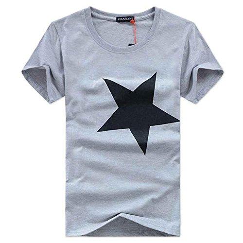 DAY.LIN Herren Hemd Gute Qualität 100% Baumwolle Männer Gedruckte Mode Kurzarm T-Shirt Herren Star T-Shirt (Grau, M=EUS) (Gedruckt Herren T-shirts)