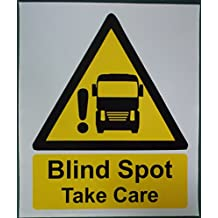 Blind Spot Take Care. Awareness safety sticker for car and small van drivers in urban traffic