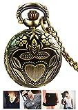 #5: LMP3Creation Bronze Classic Vintage Retro Antique Beautiful Love Leaf With Heart Design Chain Pocket - Necklace Watch (POW-0192)
