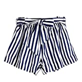 Dasongff Damen Streifen Shorts Lose Freizeitshorts Chino Shorts Sommer Mini Hot Pants Kurze Hosen Strandshorts mit Tasche (S, Blau)