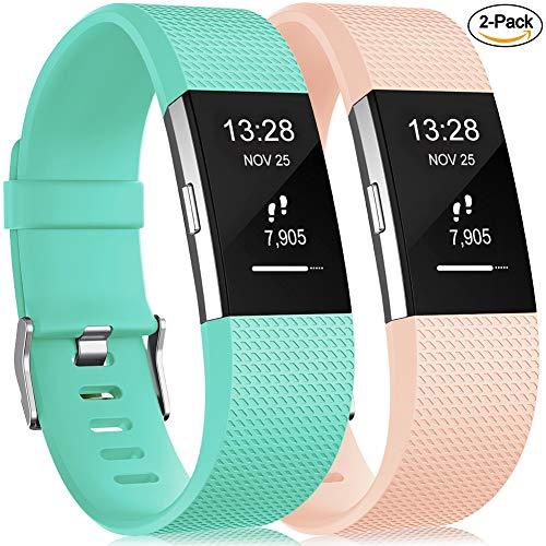Gogoings Kompatibel mit Fitbit Charge 2 Armband Original, Soft Silikon Verstellbares Ersetzerband Damen Herren Uhrenarmband Armbänder für Fitbit Charge2 Fitness Zubehör Groß