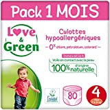 Love & Green Couches Culottes Taille 4 (7-14 kg) - Pack 1 mois (80 couches culottes)