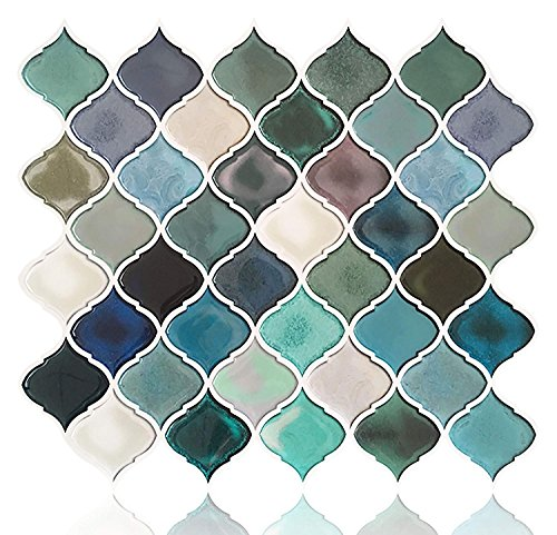 FAM-StickTiles Abziehen und Aufkleben Fliesenspiegel für Küche Badezimmer, Blaugrün Arabesque Fliesenspiegel, Mosaik-Duett Aufkleber, 5Blatt Small Mist Indigo-01 -