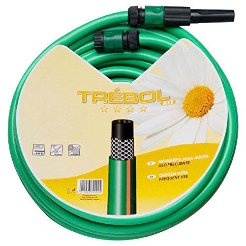 """SATURNIA 8070668 Manguera Verde Trebol Trenzado 15 mm. - 5/8\"""" Rollo 25 metros Con Accesorios"""