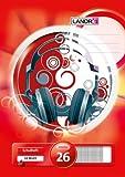 LANDRE 100050057 Schulheft 10er Pack A4 32 Blatt Lineatur 26 - kariert mit Rand 3 Motive sortiert