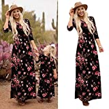 Mutter und Tochter Familie passende Outfits Floral Langarm Kleid Casual Maxi Dress (Color : For mom, Size : XXL)