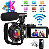 Videocamera Videocamere Ultra HD 4K Videocamera Digitale Full HD 48.0MP IR Visione Notturna WiFi Vlogging Videocamera con Microfono Esterno e Paraluce