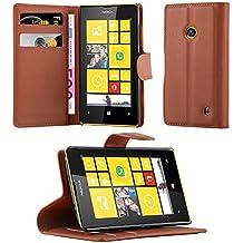 Cadorabo - Funda Nokia Lumia 520 Book Style de Cuero Sintético en Diseño Libro - Etui Case Cover Carcasa Caja Protección (con función de suporte y tarjetero) en MARRÓN-CHOCOLATE