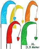 1 Stück _ XL - 1,5 m - Windfahne / Balifahne -  bunter Farbmix  - mit Fahnenstange - UV-beständig & wetterfest - Windrichtungsanzeige - aus Nylon / Flagge W..
