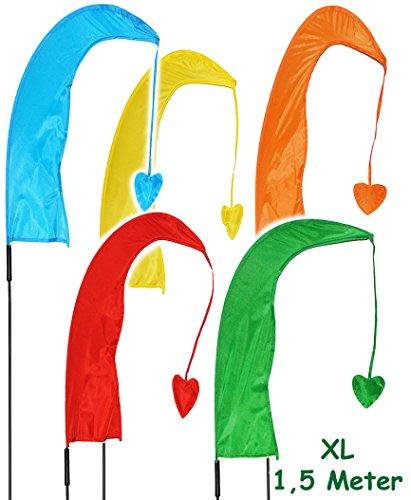5 Stück _ XL - 1,5 m - Windfahnen / Balifahnen -  bunter Farbmix  - mit Fahnenstange - UV-beständig & wetterfest - Windrichtungsanzeige - aus Nylon / Flagge.. ()