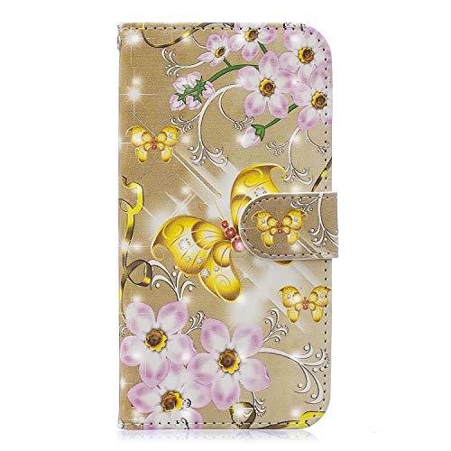 BONROY Hülle,Xiaomi Redmi 6 Pro Schutzhülle, Lederhülle PU Leder Tasche Cover Wallet Case für Xiaomi Mi A2 Lite/Xiaomi Redmi 6 Pro Smartphone Handyhülle-(XC3D Goldener Schmetterling)