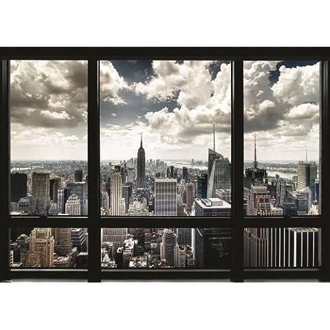 Poster GIGANTE PLASTIFICADO. Nueva York, emula la vista desde una ventana. Medidas aprox. 140 x 100 cm.