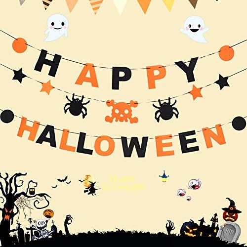VIOYO Wandaufkleber Halloween Prop Girlande Kürbis Flagge hängenden Geist Dekor Handgriff Banner Party