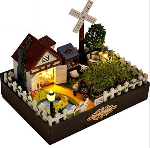 Preisvergleich Produktbild MTTLS Holz Bauernhof Haus Minihaus Möbel Handwerk Holz Miniatur Puppenhaus Puppen Zimmer Geschenk