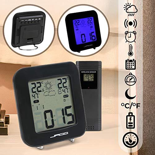 Jago Stazione Meteo Wireless | con Sensore Esterno, Alarme Sveglia, Temperatura Interna ed Esterna, Display Illuminato in Blu | Stazione Meteorologica, Pressione Atmosferica