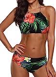 EUDOLAH Böhmische Neckholder Strand Bikini Set Trägerlos Beachwear Bademode (EU 42/ XL, Blumen und Blätter)