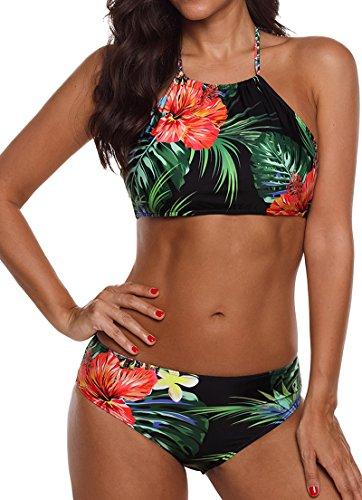 EUDOLAH Böhmische Neckholder Strand Bikini Set Trägerlos Beachwear Bademode (EU 46/ 3XL, Blumen und Blätter) (Damen Sport-bh Bikini)