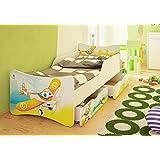 Best For Kids cama infantil con dos cajones y con 10cm Colchón TÜV certificado Super Selección 4Tamaños Diversos diseños