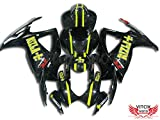 VITCIK (Fairing Kits Fit for Suzuki GSX-R750 GSX-R600 K6 2006 2007 GSXR 600 750 K6 06 07) Plastic ABS Injection Mold Complete Motorcycle Body Aftermarket Bodywork Frame(Black & Yellow) A002