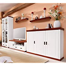Wohnwand aus Kiefernholz, weiß/kirschbaumfarben lackiert, Schrank