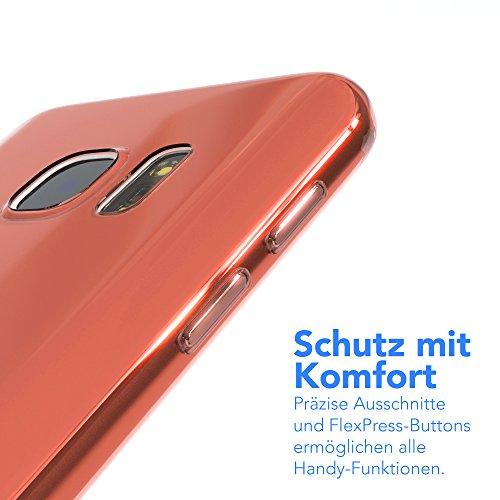 "EAZY CASE Handyhülle für Samsung Galaxy S7 Hülle - Premium Handy Schutzhülle Slimcover ""Brushed"" Aluminium Design - TPU Silikon Backcover in brushed Hellblau Clear Orange"