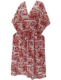 La Leela trajes de baño del traje de baño del vestido caftán caftán camisa de dormir aloha rayón mano maxi de las mujeres