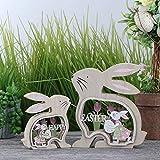 Valery Madelyn Set di 2 Coniglietto di Pasqua in Legno con Uova di Pasqua 10/15cm Decorazione di Pasqua Figurina e Statuetta di Conigli Pasquali Decorazione di Primaverile per Pasqua Casa Giardino