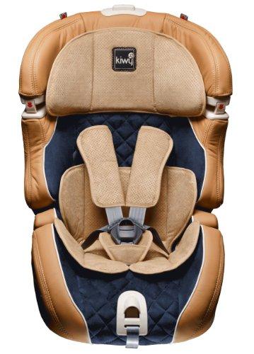 Kiwy 14103DL01B Kinderautositz SLF123 DeLuxe, Echt Lederausstattung, mit Q-Fix Adapter, Einzelanfertigung, sienna/blau