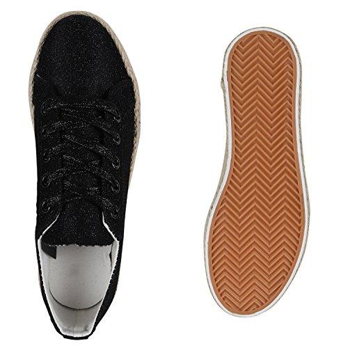 Stiefelparadies Damen Plateau Sneaker Prints Metallic Plateauschuhe 90s Look Sneakers Stoffschuhe Schnürer Prints Blumen Lack Glitzer Flandell Black