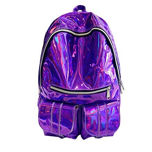 Yiuswoy Mädchen Laser Rucksack Freizeitrucksack Glitzer PU-Leder Daypack Reise Backpacks Unisex Mode Wasserdicht Schulrucksack - ()
