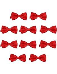 10er Set DonDon Herren Fliege 12 x 6 cm gebunden und längenverstellbar rot
