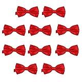 DonDon 10er Set Herren Fliege 12 x 6 cm gebunden und längenverstellbar rot
