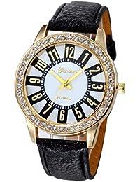 Relojes Mujer,Xinan Reloj Cuarzo Acero Inoxidable Analógico PU Cuero (Negro)