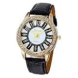 Xinantime Relojes Mujer,Xinan Reloj Cuarzo Acero Inoxidable Analógico PU Cuero (Negro)