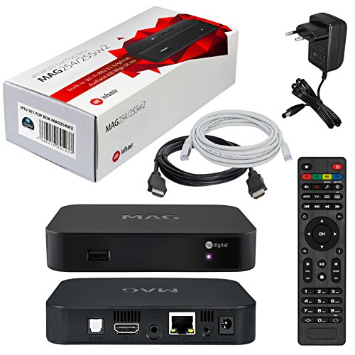 MAG 254w2 HB-DIGITAL mit WLAN (WiFi) integriert bis zu 600Mbps Original IPTV SET TOP BOX Streamer Multimedia Player Internet TV IP Receiver (802.11 b/g/n/ac dualband) + HB Digital HDMI Kabel (Vorinstallierte Mp3-player)