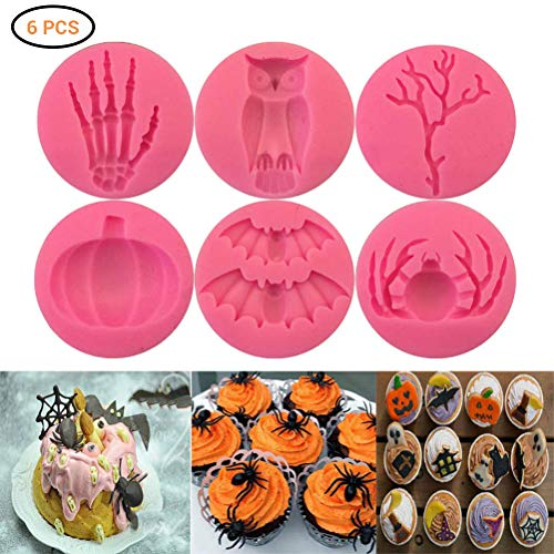 Halloween 3D Cranio Stampo in silicone Cioccolato Fondente Torta Stampo da forno Divertente Pipistrello Zucca Silicone Stampo da forno Stampo per dolci in silicone per Festa di Halloween Fai da te
