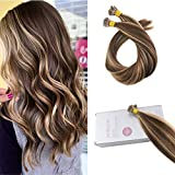 Moresoo 20 Pouce Pre Bonded Hair Hair Extensions I Tip Keratine 100% Extensions Cheveux Naturel 1 G/S 50 Strands Chocolat Brun #4 Melanger avec Caramel Blonde #27 Stick Tip Extensions