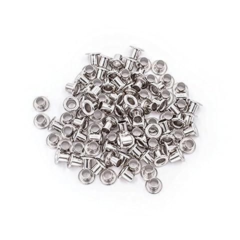 100Ösen mit Scheiben Tülle Rost Proof Messing lang Barrel für Vorhang Plane Leder Arts & Crafts von Hochzeit Decor, metall, silber, 6 mm