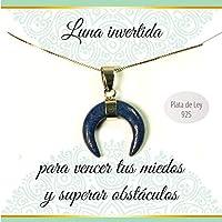 Colgante luna invertida lapislázuli | Collar con mensaje | Regalos especiales | Colgante Boho Chic | Collar minimalista | Envío gratis