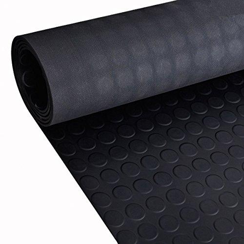 Pavimentazione in gomma, 2m, antiscivolo, per capanno, furgone, garage, officina, rotolo da 1,2m di larghezza x 3mm di spessore, colore nero