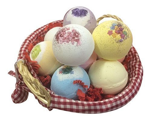 Bath Bomb Heaven Gift Basket with 10 Bath Bombs (160g each) Ideal for Mothers Day, Easter or Birthdays