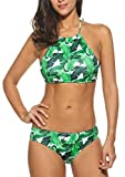 SOTEER Bikini Damen High neck set Sexy Push-Up Badeanzüg Neckholder Zwei Stück Schwimmanzug, Small, Grün