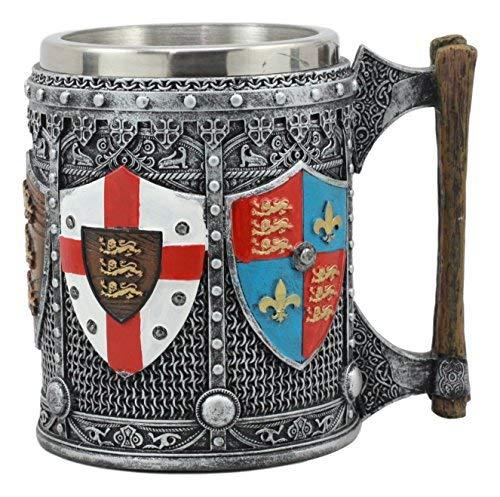 ter Wappen Englisch Heraldik Bierkrug Klauenhammer, Kingdom of England Löwe Herzen Wappen Tasse Bier Stein Bierkrug Kaffee Tasse ()