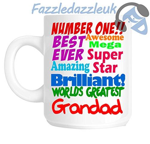 Abuelo número uno 1mejor nunca impresionante Mega Superstar Amazing Brilliant Wonderful World 's Greatest Grandad los padres día Papá gracias Navidad regalo taza