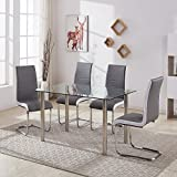 GIZZA MODERN TEMPERED GLASS TABLE SET AND 4 CHROME LEGS BLACK/GREY WHITE SIDE CHAIRS DINING ROOM HOME FURNITURE (4 Grey Chairs + Clear Table)