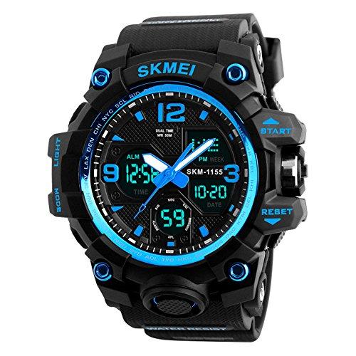 Herren digitale Uhren, Sport digitaluhr analog 50M wasserdichte Armbanduhr Militär mit Wecker, Laufen große Anzeige LED Digitaluhren für Herren (Blue)